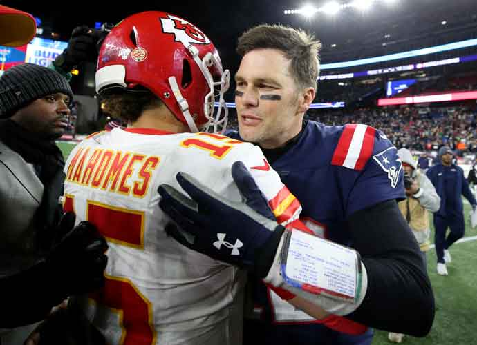 FOXBOROUGH, MASSACHUSETTS - DECEMBER 08: Tom Brady #12 of the New England Patriots talks with Patrick Mahomes #15 of the Kansas City Chiefs after the Chief defeat the Patriots 23-16 at Gillette Stadium on December 08, 2019 in Foxborough, Massachusetts. (Photo by Maddie Meyer/Getty Images)
