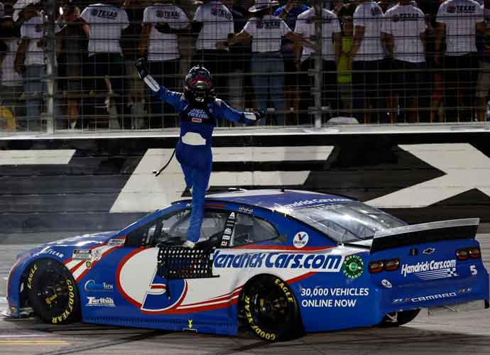 FORT WORTH, TEXAS - JUNE 13: Kyle Larson, driver of the #5 HendrickCars.com Chevrolet, celebrates after winning the NASCAR All-Star Race at Texas Motor Speedway on June 13, 2021 in Fort Worth, Texas. (Photo by Chris Graythen/Getty Images)